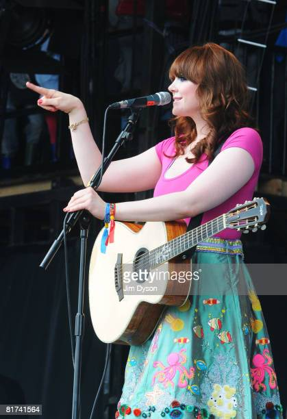 Kate Nash performs on the Pyramid stage during day one of the Glastonbury Festival at Worthy Farm Pilton on June 27 2008 in Glastonbury Somerset...
