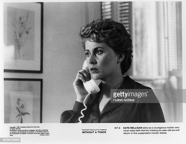 Kate Nelligan listens on the phone in a scene in the 20th Century Fox movie Without a Trace circa 1983