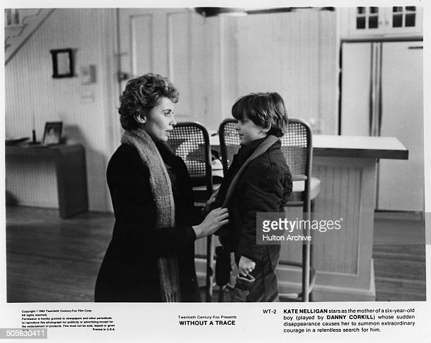 Kate Nelligan talks to her son Danny Corkill in a scene in the 20th Century Fox movie Without a Trace circa 1983