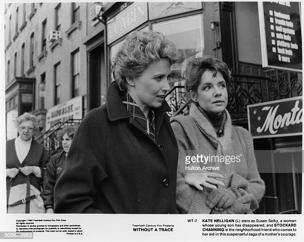 Kate Nelligan walks with Stockard Channing in a scene in the 20th Century Fox movie 'Without a Trace' circa 1983