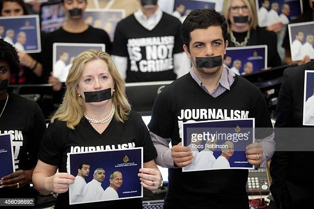 Kate O'Brian of Al Jazeera America and journalist Abdullah Elshamy attend 'Journalism Is Not A Crime' a campaign calling for the release of...