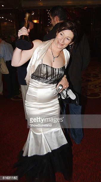 Kate O'Toole poses with her Father Peter's Award for Best Supporting Actor at the Irish Film and Television Awards at the Burlington Hotel on October...