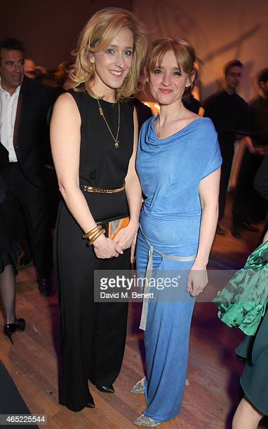 Kate Pakenham and AnneMarie Duff attend Fast Forward The National Theatre's fundraising gala at The National Theatre on March 4 2015 in London England