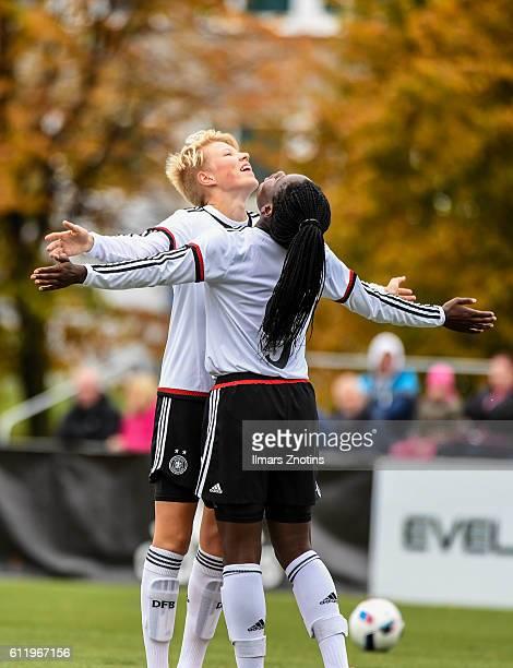 Kate Paulina and Nicole Etonam of Germany celebrtae after scoring against Latvia during the UEFA Under17 Girl's Euro Qualifier match Germany and...