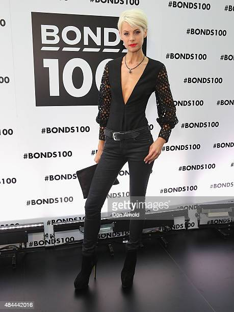 Kate Peck poses during Bonds 100th birthday celebration event at Cafe Sydney on August 19 2015 in Sydney Australia