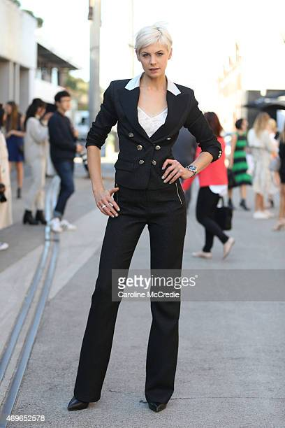 Kate Peck wearing Jason Brunsdon at MercedesBenz Fashion Week Australia 2015 at Carriageworks on April 14 2015 in Sydney Australia