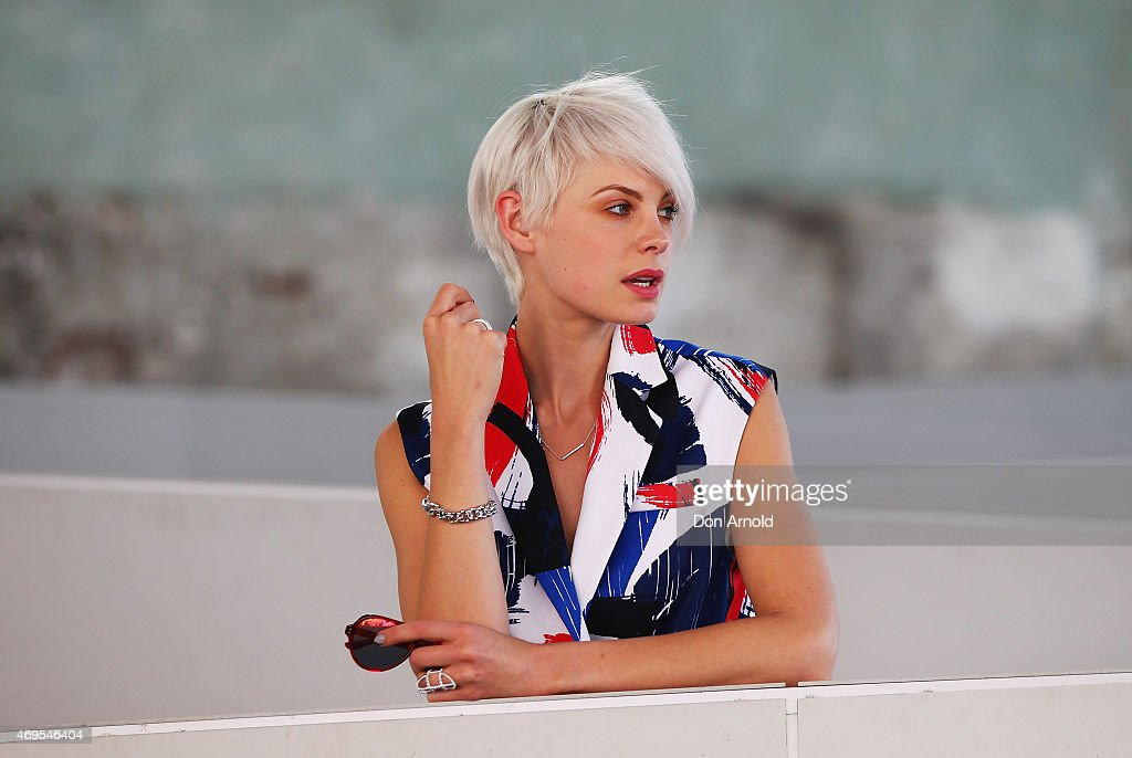 Kate Peck wears dress by By Johnny and sunglasses from Local Supply at Mercedes-Benz Fashion Week Australia 2015 at Carriageworks on April 13, 2015 in Sydney, Australia.