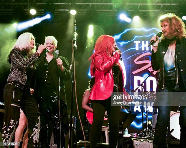 Kate Pierson Cindy Wilson Brie Howard Darling Patti Quatro June Millington Melissa Etheridge perform 'Respect' at 2018 NAMM She Rocks Awards held at...