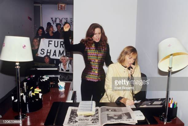 Kate Pierson of The B52's and Ingrid Newkirk at a Vogue Fur protest in New York City on September 30 1993