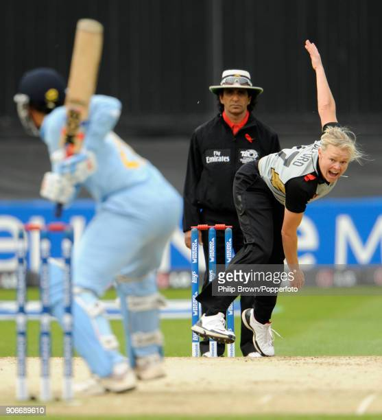 Kate Pulford bowling for New Zealand during the ICC Women's World Twenty20 Semi Final between India Women and New Zealand Women at Trent Bridge...
