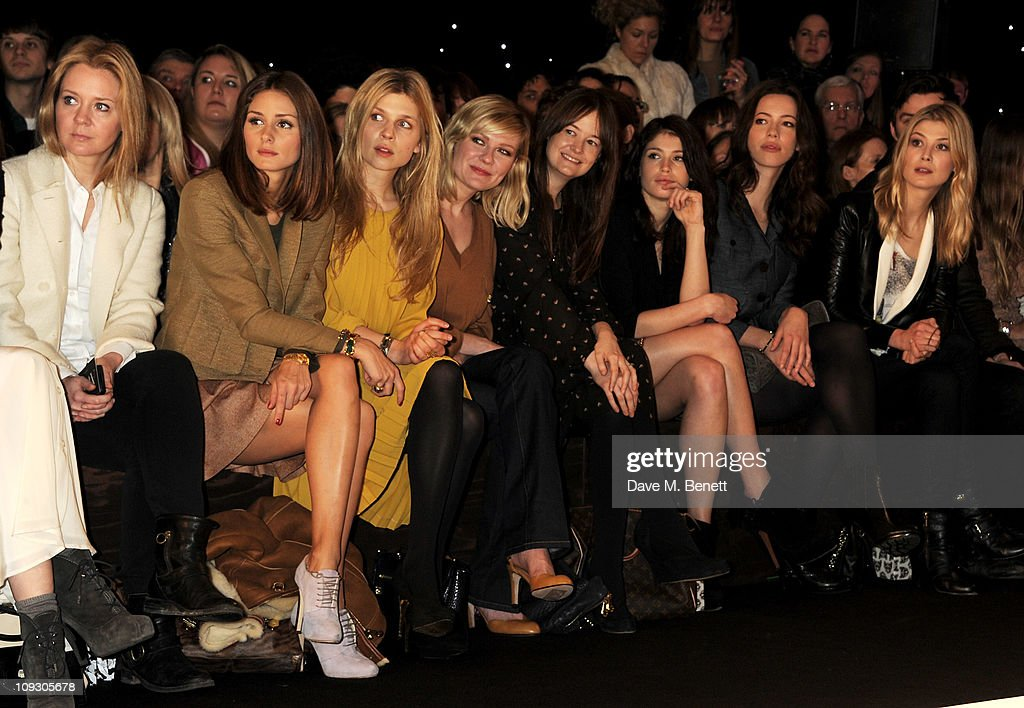 Kate Reardon, Olivia Palermo, Clemence Posey, Kirsten Dunst, Leith Clark, Gemma Arterton, Rebecca Hall, and Rosamund Pike sit in the front row at the Mulberry Salon Show at London Fashion Week Autumn/Winter 2011 at Claridge's Hotel on February 20, 2011 in London, England.