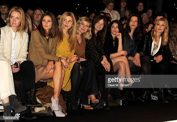 Kate Reardon Olivia Palermo Clemence Posey Kirsten Dunst Leith Clark Gemma Arterton Rebecca Hall and Rosamund Pike sit in the front row at the...