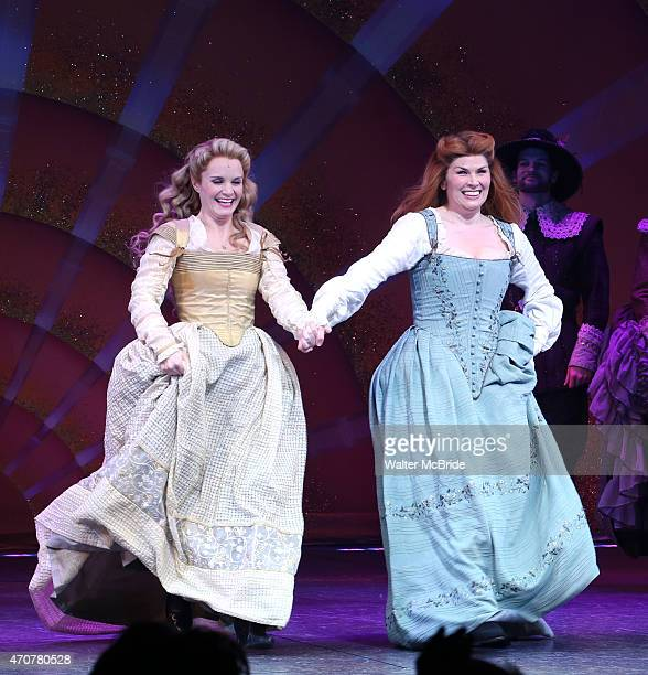 Kate Reinders and Heidi Blickenstaff with cast during the Broadway Opening Night Curtain Call for 'Something Rotten' at the St James Theatre on April...