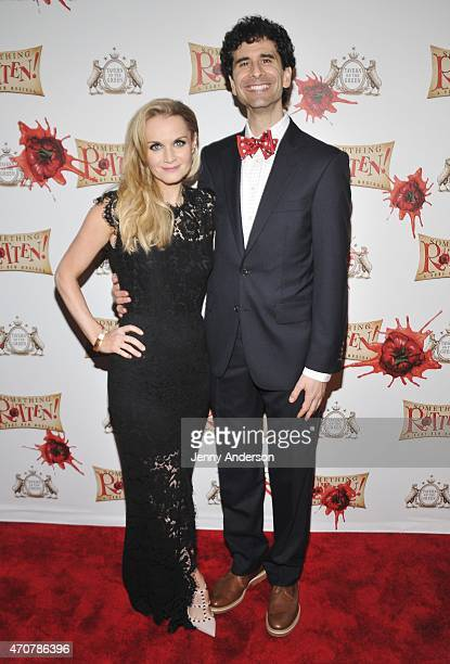 Kate Reinders and John Cariani attend Something Rotten Broadway Opening Night at Tavern On The Green on April 22 2015 in New York City