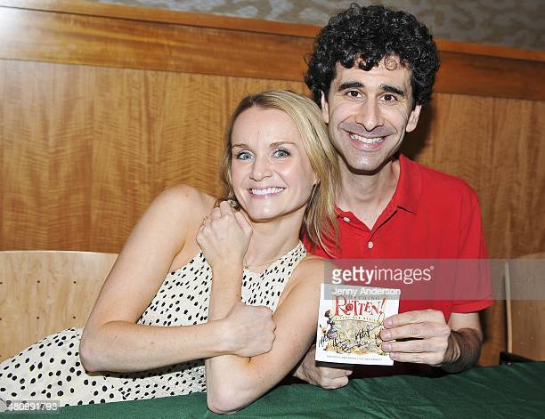 Kate Reinders and John Cariani attend Something Rotten Broadway cast performance and CD signing at Barnes Noble on July 16 2015 in New York City