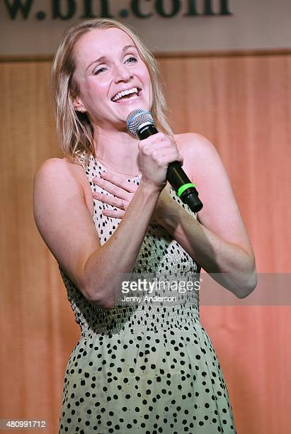Kate Reinders performs during Something Rotten Broadway cast performance and CD signing at Barnes Noble on July 16 2015 in New York City