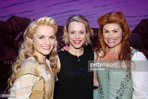 Kate Reinders Rachel McAdams and Heidi Blickenstaff pose backstage at the hit musical Something Rotten on Broadway at The St James Theatre on January...