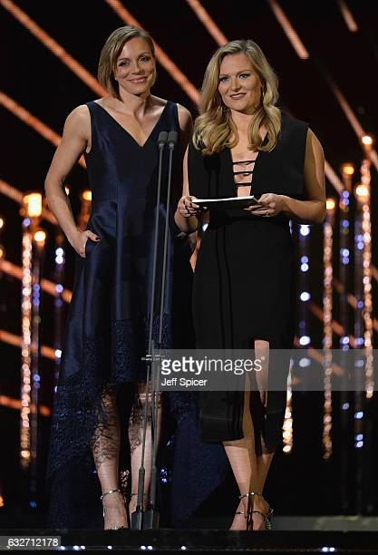 Kate RichardsonWalsh and Hollie Webb on stage during the National Television Awards at The O2 Arena on January 25 2017 in London England