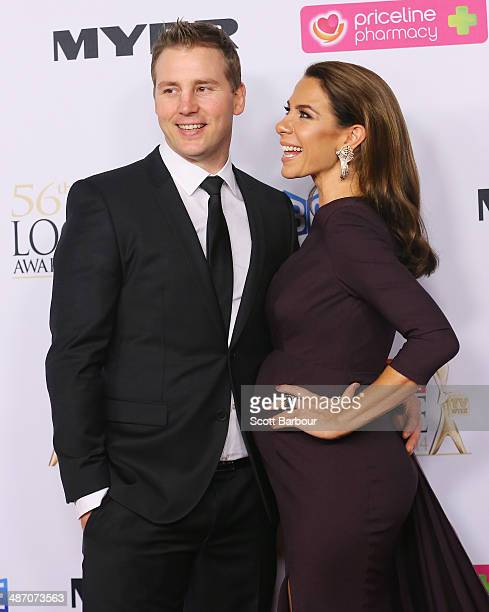 Kate Ritchie and Stuart Webb arrive at the 2014 Logie Awards at Crown Palladium on April 27, 2014 in Melbourne, Australia.