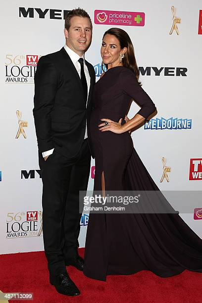 Kate Ritchie and Stuart Webb arrive at the 2014 Logie Awards at Crown Palladium on April 27 2014 in Melbourne Australia
