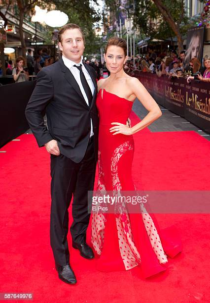 Kate Ritchie and Stuart Webb walk the Red Carpet for the Australian premiere of Les Miserables on Pitt street Mall on December 22 2012 in Sydney...