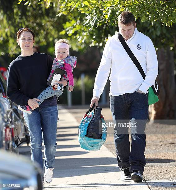 Kate Rithie and husband Stuart Webb are seen taking their daughter Mae to swimming lessons on June 29, 2016 in Sydney, Australia.