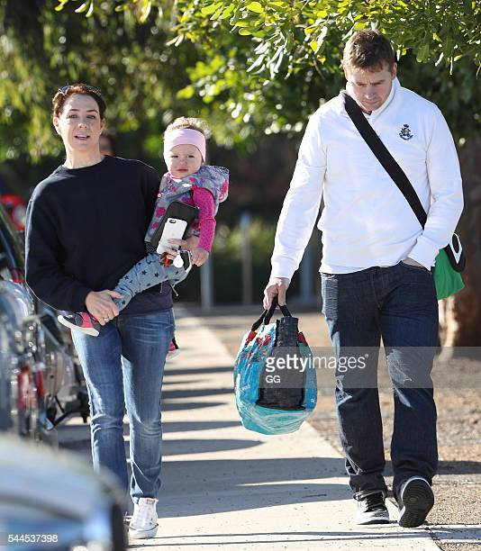 Kate Rithie and husband Stuart Webb are seen taking their daughter Mae to swimming lessons on June 29 2016 in Sydney Australia