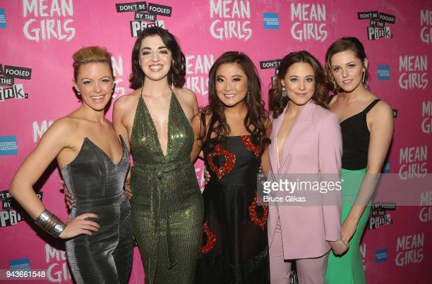 Kate Rockwell Barrett Wilbert Weed Ashley Park Erika Henningsen and Taylor Louderman pose at the opening night after party for the new musical 'Mean...