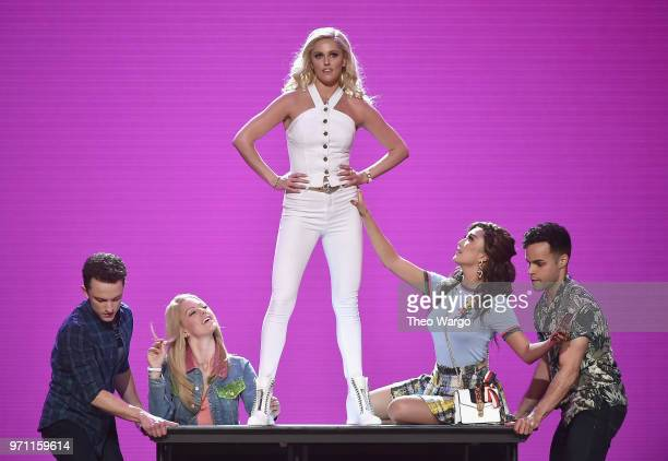 Kate Rockwell Taylor Loudermanm Ashley Park and the cast of Mean Girls perform onstage during the 72nd Annual Tony Awards at Radio City Music Hall on...