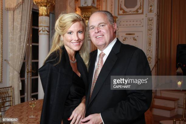 Kate Rogers and Rush Limbaugh attend the Andrea Bocelli concert at The MaraLago Club on February 28 2010 in Palm Beach Florida