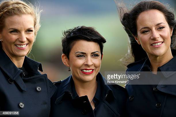 Kate Rose wife of Justin Rose Laurae Westwood wife of Lee Westwood and Kathryn Tagg partner of Jamie Donaldson prior to the Opening Ceremony ahead of...
