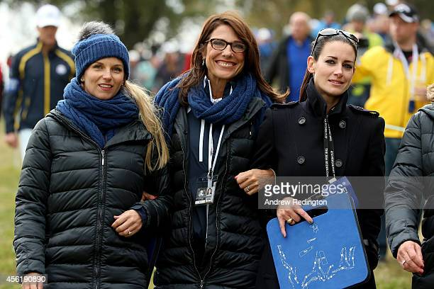 Kate Rose wife of Justin Rose of Europe Suzanne Torrance wife of Europe team vice captain Sam Torrance and presenter Kirsty Gallacher look on during...