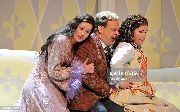 Kate Royal as The MarschallinLars Woldt as Baron Ochs auf Lerchenau and Tara Erraught as Octavian in Richard Strauss's Der Rosenkavalier directed by...
