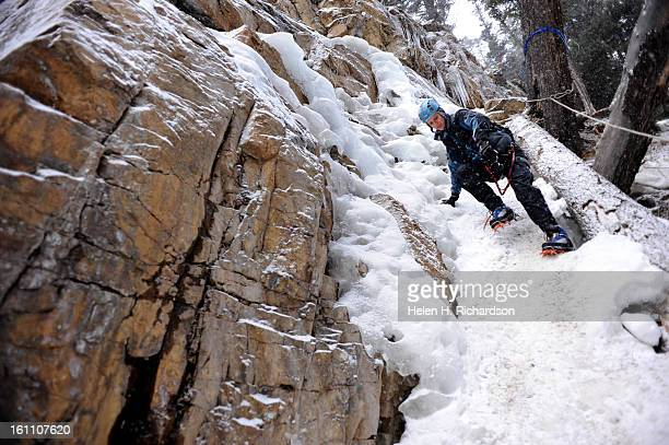 Kate Sawford of Calgary Canada makes her way down a steep trail towards the ice climbs The crew climbed in a place called South Park Sawford is...