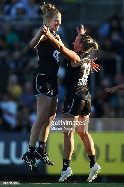 Kate Shierlaw and Lauren Arnell of the Blues celebrates a goal during the round one AFLW match between the Carlton Blues and the Collingwood Magpies...