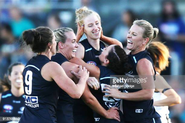 Kate Shierlaw of the Blues celebrates a goal during the round one AFLW match between the Carlton Blues and the Collingwood Magpies at Ikon Park on...