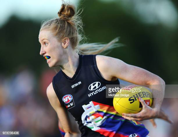 Kate Shierlaw of the Blues runs with the ball during the round four AFLW match between the Western Bulldogs and the Carlton Blues at Whitten Oval on...