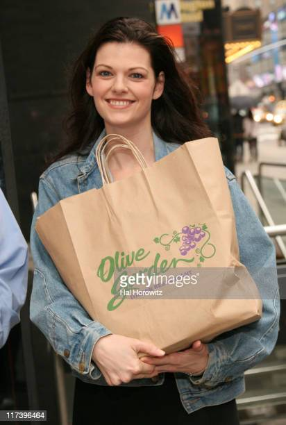 Kate Shindle during The Cast of Legally Blonde Rescues Over a Hundred Pounds of Food with City Harvest at Olive Garden in New York City New York...