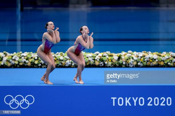 Kate Shortman and Isabelle Thorpe of Team Great Britain compete in the Artistic Swimming Duet Technical Routine on day eleven of the Tokyo 2020...