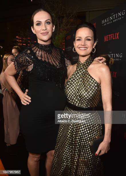 Kate Siegel and Carla Gugino attend the premiere of Neflix's The Haunting Of Hill House at ArcLight Hollywood on October 8 2018 in Hollywood...