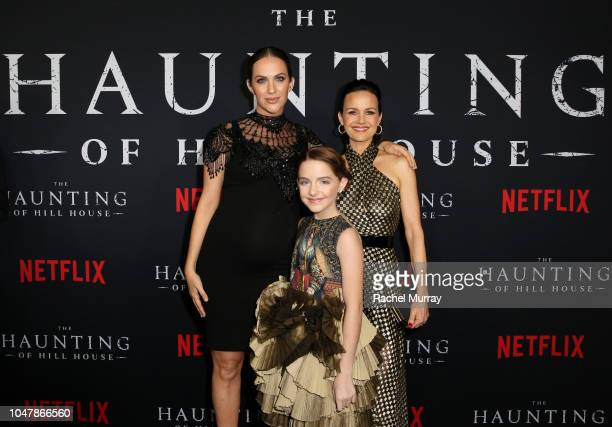Kate Siegel Mckenna Grace and Carla Gugino attend Netflix's The Haunting of Hill House Premiere at Arclight Hollywood on October 8 2018 in Hollywood...
