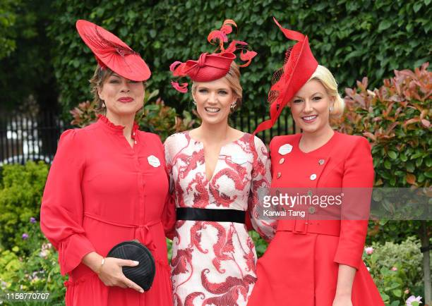 Kate Silverton Charlotte Hawkins and Natalie Rushdie attend day one of Royal Ascot at Ascot Racecourse on June 18 2019 in Ascot England