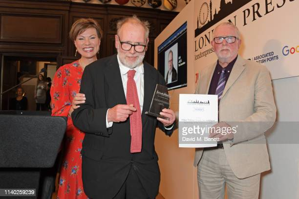 Kate Silverton Ian Jack winner of the Edgar Wallace Trophy for writing or reporting of the highest quality and Bill Hagerty attend the London Press...