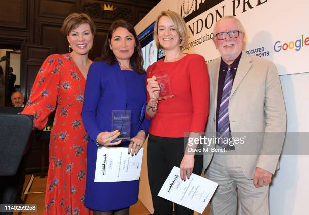 Kate Silverton Katya Adler and Laura Kuenssberg winners of the Broadcast Journalist of the Year award and Bill Hagerty attend the London Press Club...