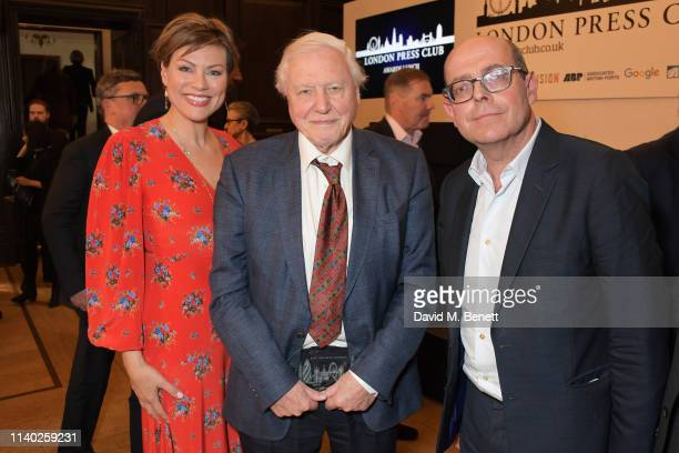 Kate Silverton Sir David Attenborough and Nick Robinson attend the London Press Club Awards 2019 at Stationers' Hall on April 30 2019 in London...
