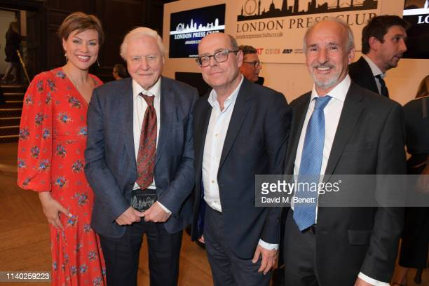 Kate Silverton Sir David Attenborough Nick Robinson and Doug Wills attend the London Press Club Awards 2019 at Stationers' Hall on April 30 2019 in...