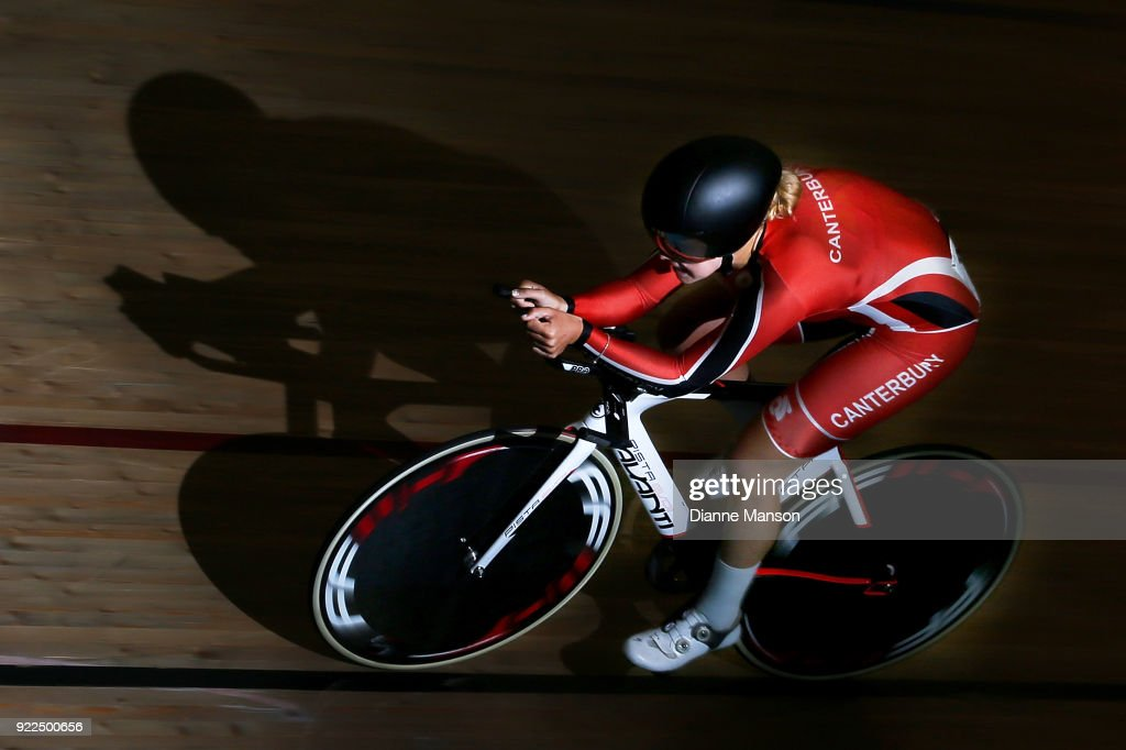 Kate Smith of Canterbury competes in the Elite Women 3000m IP during the New Zealand Track Cycling Championships on February 22, 2018 in Invercargill, New Zealand.