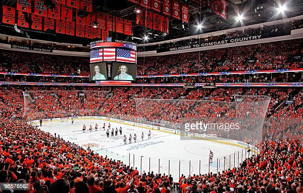 Kate Smith on the arena vision scoreboard sings God Bless America prior to the start of a playoff game between the New Jersey Devils and the...