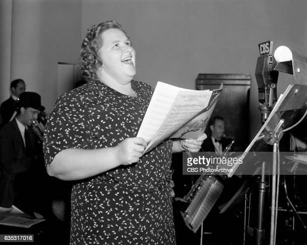 Kate Smith rehearses for CBS Radio's The Kate Smith Hour New York NY Image dated September 29 1938
