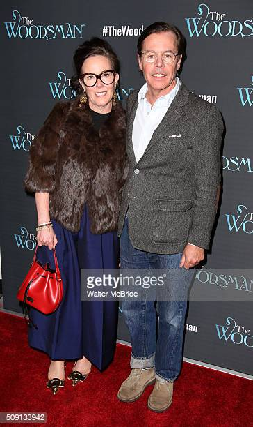 Kate Spade and Andy Spade attend the OffBroadway Opening Night Performance of 'The Woodsman' at The New World Stages on February 8 2016 in New York...